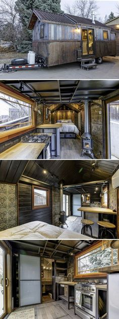 I love tge blue stained cedar. The Earth and Sky Palace features reclaimed heart pine and blue stained cedar, giving it a weathered finish reminiscent of Colorado's old mining towns. Tiny Cabins, Tiny House Cabin, Tiny House Living, Tiny House Plans, Tiny House On Wheels, Tiny House Design, Living Room, Homes On Wheels, Small Living