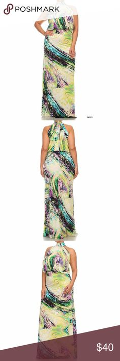 $60 Plus Size High Neck Halter Maxi Floral Dress Plus Size High Neck Halter maxi Floral Dress  has a keyhole back at the neckline and elastic waist.  Made of stretchy polyester material. Dresses Maxi