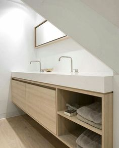 Contemporary bathrooms 294211788142644765 - contemporary bathroom vanity double basin in white and pale blonde wood Attic Bathroom, Bathroom Toilets, Bathroom Renos, Laundry In Bathroom, Bathroom Interior, Small Bathroom, Bathroom Cabinets, Bathroom Ideas, Bathroom Marble