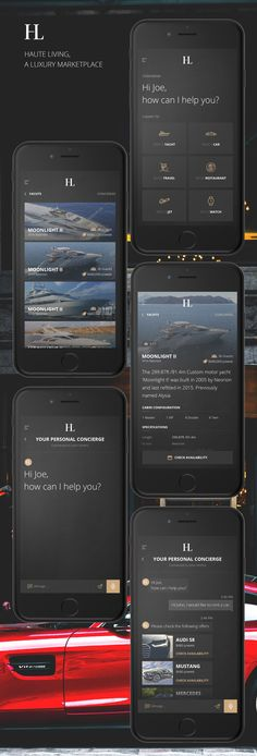 A mobile app design by Joe Borcsa for Haute Curator, a luxury services company. #appdesign #ux #darkwebdesign