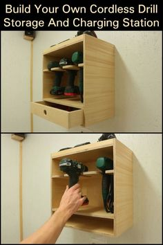 Build Your Own Cordless Drill Storage And Charging Station  Organize your building station for your workpieces.