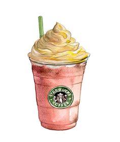 Coffee art print - coffee kitchen decor, Pink Decor - Kitchen Art Print - Watercolor Illustration - Starbucks Frappuccino Venti, Grande. $10.00, via Etsy.