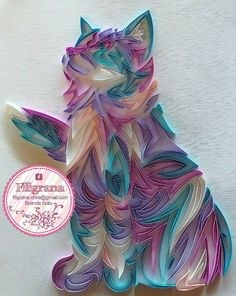 Fluffy kitty cat in paper quilling Arte Quilling, Origami And Quilling, Quilling Paper Craft, Origami Paper, Paper Crafts, Cat Crafts, Paper Quilling Tutorial, Paper Quilling Patterns, Quilling Ideas