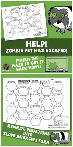 Convert Equations from Standard Form into Slope Intercept Form Maze activity. Zombie Pet Theme!