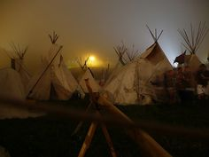 Tipi Field by night during the Glastonbury Festival. Photo by TimS, flickr