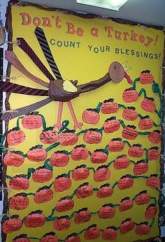 This bulletin board is good for a fall theme and thanksgiving. On the top it will say Don't be a turkey be thankful. the turkey has feathers made out of ties. the children will get a pumpkin and they will write something they are thankful for. this is very creative and children will learn about thanksgiving.
