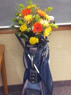 Golf club floral arrangement #paigesloveyoubunches