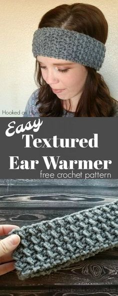 crochet headband pattern This easy crunch stitch makes a beautifully textured headband. This Easy Textured Ear Warmer Crochet Pattern is just wide enough to keep those ears war Bonnet Crochet, Crochet Mittens, Crochet Beanie, Crochet Gifts, Crochet Stitches, Crochet Baby, Free Crochet, Crochet Ear Warmers, Crocheted Hats