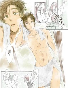 Free! ES ~~ When Rin went to hassle Haruka even more about his future plans, perhaps THIS is what he saw when the door opened? :: Rin and Makoto