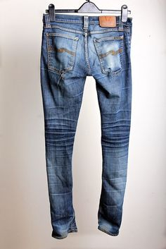 After seeing my pair of Tight Long John Denim Stretch jeans that have been worn heavily for 2 years, I conclude that Nudie Jeans is a beaut! Nudie Jeans, Denim Pants, Blue Jeans, Levis, Fashion Wear, Denim Fashion, Clothes For Big Men, Estilo Denim, Raw Denim