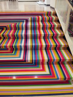 'Zobop' staircase by artist Jim Lambie. Albright Knox Art Musuem, Buffalo, New York