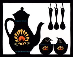 Tea For Two  Cut Paper Art Print by ruralpearl on Etsy, $20.00