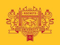 New logo for Rockets University, an internship program through the Houston Rockets by Will Tullos