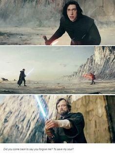 #Kylo Ren vs Luke Skywalker x  #Star Wars The Last Jedi