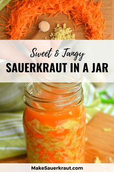 Tangy homemade sauerkraut for kids and adults alike. It is full of natural probiotics and essential enzymes for healthy digestion and is perfect for tossing into a salad, topping a grilled hamburger, layering into a sandwich, or eating straight from the jar. #guthealth