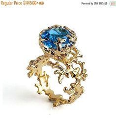 SALE 20% Off  CORAL Blue Topaz Engagement Ring Blue Topaz
