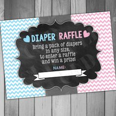 Diaper Raffle Ticket Gender Reveal He or She Baby Shower Game Party Game… Gender Reveal Party Games, Gender Party, Baby Shower Gender Reveal, Reveal Parties, Gender Reveal Party Invitations, Baby Shower Drinks, Baby Shower Themes, Shower Ideas, Babyshower