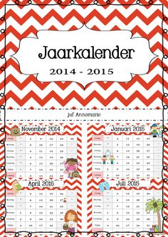 jaarkalender 2014-2015 School Organization, Teacher, School Organisation, Professor