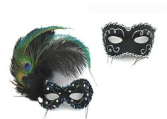masks with peacock feather