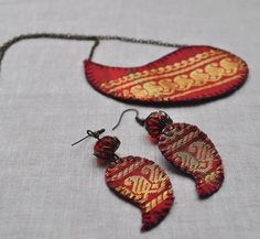 Ideas Style Clothes Bohemian Jewels For 2019 Diy Jewelry Necklace, Diy Earrings, Jewelry Crafts, Jewelry Art, Fashion Jewelry, Necklace Ideas, Necklace Chain, Diy Fabric Jewellery, Fabric Earrings