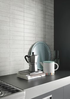 Contemporary white horizontal splashback tiles, suitable for kitchen areas. FREE samples are now available to order online. Wall And Floor Tiles, Wall Tiles, Contemporary Tile, Splashback Tiles, Free Samples, Modern House Design, Kitchen Appliances, Flooring, Range