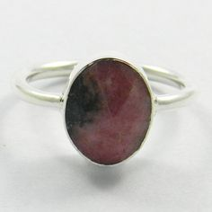 Woman Everyday Wear Ring, Natural Rhodonite 925 Sterling Silver Ring Size 6