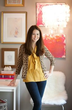 Leopard cardi over mustard yellow