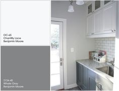 two tone painted kitchen cabinets ideas using BM Whale Gray - Google Search