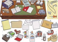 Learning about office supplies and stationary vocabulary and conversation. English lesson available in PDF