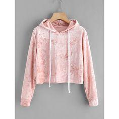 Velvet Drawstring Crop Hoodie ($13) ❤ liked on Polyvore featuring tops, hoodies, pink, pink hooded sweatshirt, hooded pullover sweatshirt, long sleeve hoodie, hooded sweatshirt and long sleeve pullover
