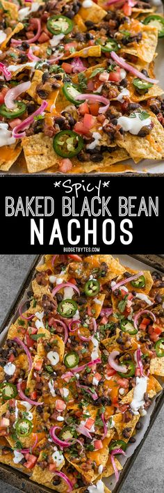 For the perfect Spicy Baked Black Bean Nachos, layer your chips and toppings for the perfect chip-to-topping ratio. BudgetBytes.com