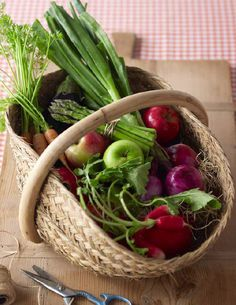 """Colour shot from my new book """"The Complete Food and Nutrition Companion"""". Love that basket of fresh produce from the markets!"""