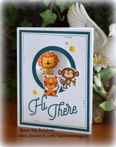 Punny Pals stamp set & thin cuts plus the 'Hi There' and circle thin cuts for techniques. #CTMH