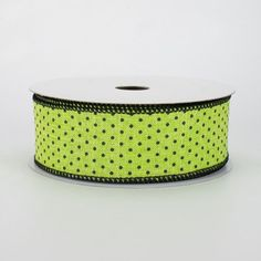 """1.5"""" Swiss Dots Ribbon: Lime Green & Black (10 Yards) Deco Mesh Ribbon, Wired Ribbon, Fabric Ribbon, Ribbon Colors, Halloween Ribbon, Halloween Deco Mesh, Lime Green Paints, Craft Outlet, Wreath Supplies"""