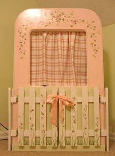 Shabby Chic Girl's Room - Design Dazzle TV stand with curtain to hide the not so pretty TV! How awesome is this! I so wanna do this if I have a little girl! Shabby Chic Tv Stand, Shabby Chic Girl Room, Shabby Chic Bedrooms, Childrens Bedroom Decor, Kids Bedroom, Girls Room Design, Shabby Chic Crafts, Blog Design, Dream Rooms