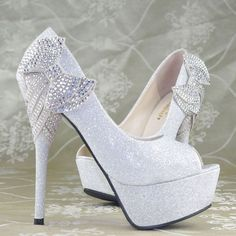 Crystal Bows Platform High Heels