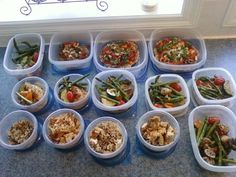 Meal prep including oatmeal pizza, vegis, rice and chicken of course
