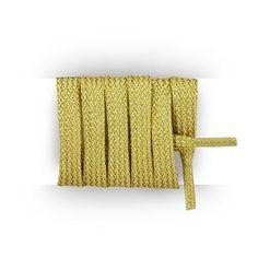 Lacets chaussures de sport, lacet plat lurex, longueur lacets 90 cm largeur 8 mm, lacets feuille d'Or