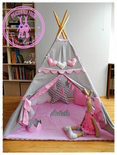 marzenie każdej małej dziewczynki - własny namiot w domu:) Baby Bedroom, Baby Room Decor, Girls Bedroom, Kids Teepee Tent, Teepees, Childrens Playhouse, Nursery Artwork, Girl Bedroom Designs, Play Houses