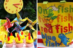 One fish, two fish, three fish. We're sharing how to throw a Seuss-tastic Dr. Seuss Birthday Party without breaking the bank! Dr Seuss Birthday Party, Birthday Party Tables, 1st Birthday Parties, Birthday Ideas, Kid Parties, Sons Birthday, Storybook Party, Cat In The Hat Party, Dr Seuss Baby Shower