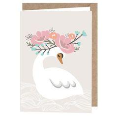 "A6 Lulu & Helina Greeting Card ""Kukkaisjoutsen"" Paper Goods, Greeting Cards, Graphic Design, Weddings, Shop, Wedding, Marriage, Visual Communication, Store"