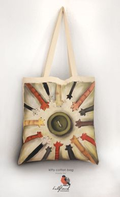 PAINTED BAG for cat lovers  shopping bag  eco by BullfinchHandmade