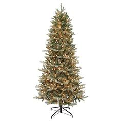 Puleo International 7.5' Balsam Blue Slim Fir Christmas Tree w/ 700 Clear Lights >>> Check this awesome product by going to the link at the image. (This is an affiliate link)