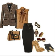 black and brown outfit, the black pencil skirt with sequined pumps