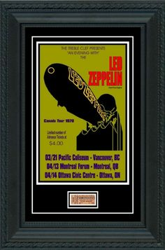 Here you will find cool and amazing Music items for the fan or collector.  *** items only, not framed as pictured. use as reference when framing.  This listing is for ...  CONCERT POSTER + TICKET  LED ZEPPELIN 1970 CANADA TOUR Ticket if for OTTAWA show  LEGENDARY CONCERT EVENT   POSTER size: 19 x 13 inch TICKET SIZE: Actual size as original. Tickets are laminated for easy framing.  These are beautiful best quality items that you can frame up and display. What a gift! Perfect for fan or…