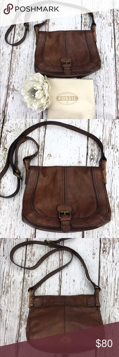 """SALEFossil Leather Crossbody Bag Gorgeous Fossil Leather Crossbody Bag Outside Compartment, Inside Multipurpose Pockets, Inside Zippered Compartment, Magnetic Closure, Adjustable Strap, Dust bag included Stunning High Quality Bag 11""""W x 9""""H Fossil Bags Crossbody Bags"""