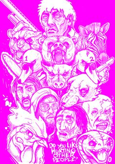 Heres the rough pencils for a Hotline Miami 2 fan piece im working on.Loved that game far more than I maybe should have, completely absorbed it. Here is every single playable character in the game and then one more. Excited to ink this.