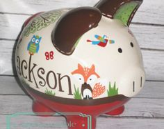 "LARGE Woodland animals Artisan hand painted ceramic personalized custom piggy bank 9"" enchanted Forest fox deer bunny"