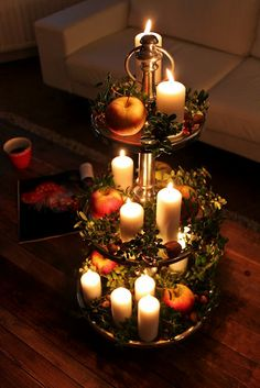 Candles on a decorative tray