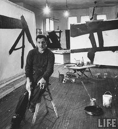 Franz Kline in his studio from LIFE magazine.   #artist #art #abstract #expressionist #franz #kline